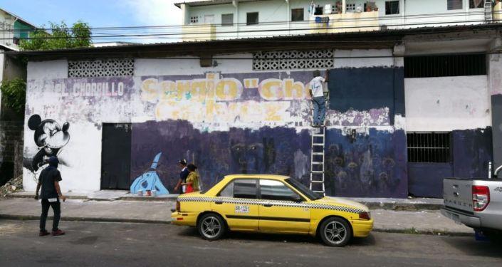 Mickey Mouse maléfico - mural en El Chorrillo, ciudad de Panamá