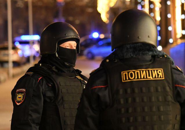 Agentes policiales en el centro de Moscú