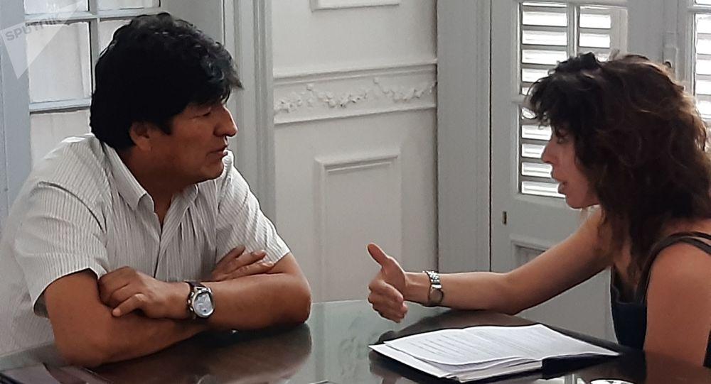 El expresidente boliviano Evo Morales durante la entrevista exclusiva con Sputnik