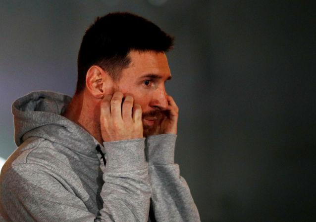 El futbolista Lionel Messi durante una presentación