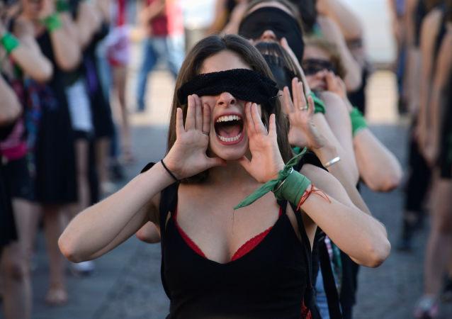 Una marcha contra la violencia de género en Argentina