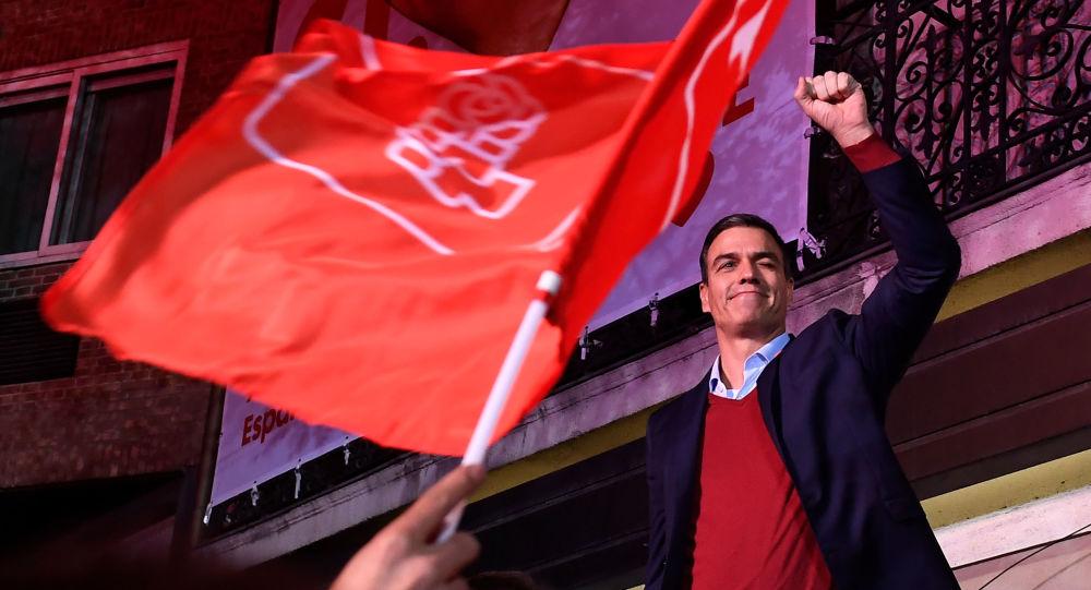 Pedro Sánchez celebra la victoria del PSOE en las elecciones generales de España, el 10 de noviembre de 2019
