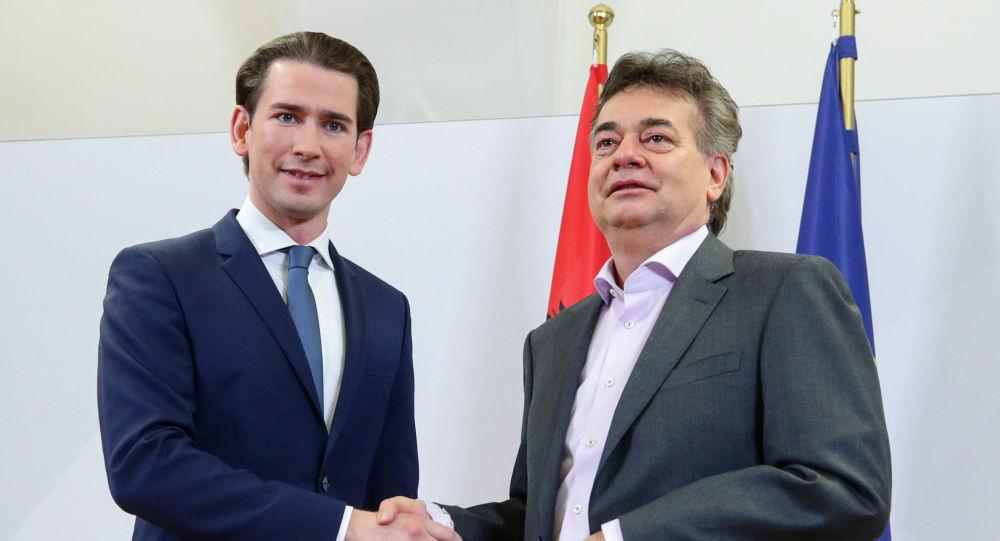 Sebastian Kurz, líder del Partido Popular Austríaco, y Werner Kogler, líder de Los Verdes