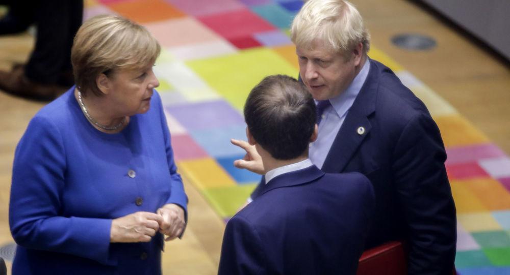 La canciller federal alemana, Angela Merkel, el presidente francés, Emmanuel Macron, y el primer ministro británico, Boris Johnson