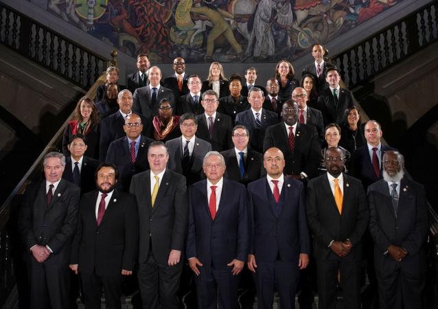 López Obrador recibe a cancilleres al asumir México presidencia de Celac