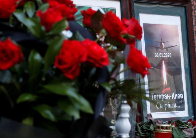 Homenaje a las víctimas  de la catástrofe aérea del avión Boeing 737-800 en Irán