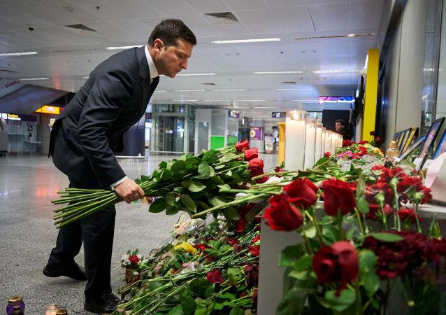 El presidente de Ucrania, Volodímir Zelenski, homenajea a las víctimas de la catástrofe aérea en Irán