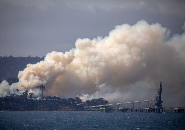 Humo de incendios forestales en Australia