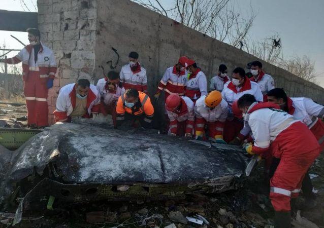 Lugar del siniestro del avión ucraniano Boeing 737 en Teherán, Irán