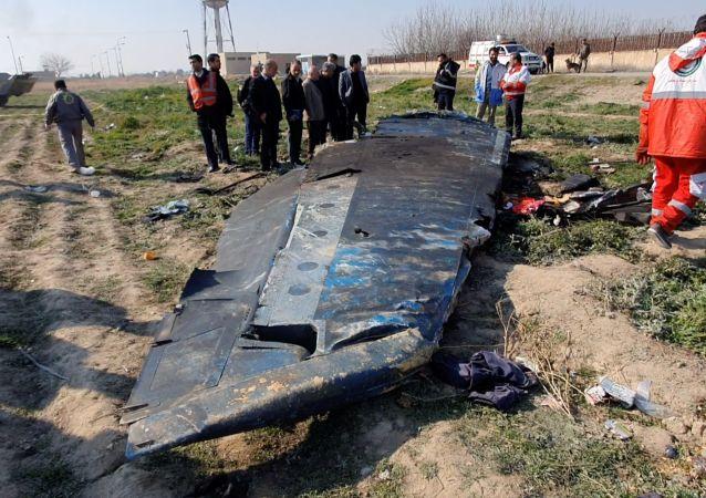 Fragmento del Boeing 737 siniestrado en Irán