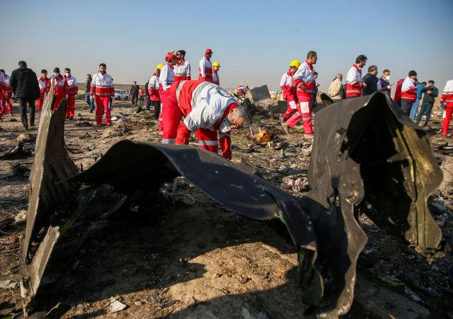 El lugar del siniestro del avión ucraniano en Irán