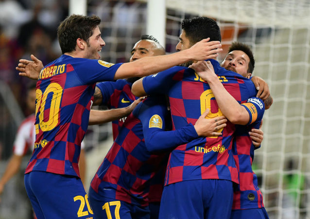 Los miembros del club de fútbol FC Barcelona