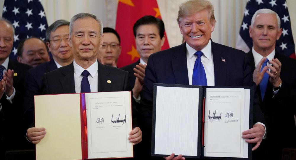 El vice primer ministro chino Liu He y el presidente de EEUU, Donald Trump