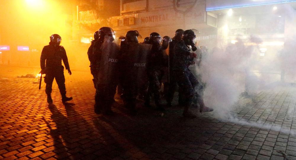 La policía de Beirut durante las protestas