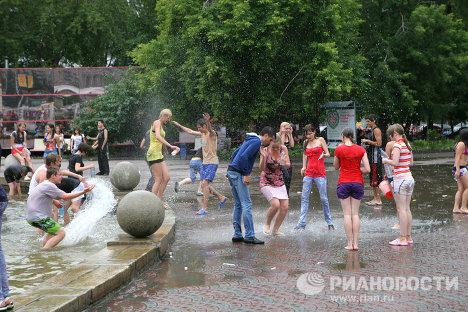 Celebración de Iván Kupala, fiesta del agua dedicada al solsticio de verano en toda Rusia