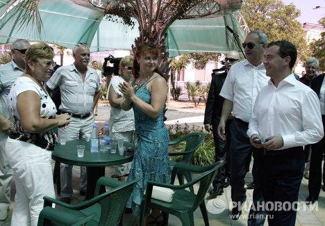 Primer viaje del presidente ruso Dmitri Medvédev a la Abjasia independiente