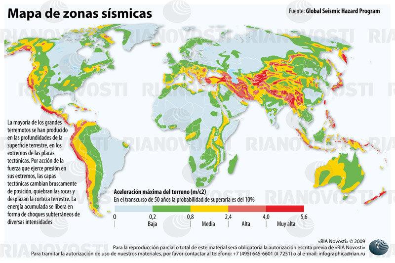 Mapa de zonas sísmicas