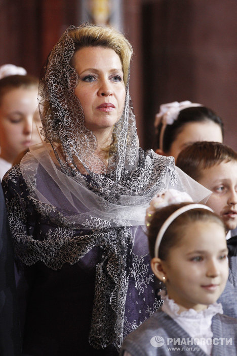 а на Рождественском богослужении в Москве