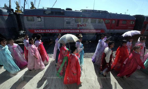 Открытие участка железной дороги между станциями Хасан и Раджин