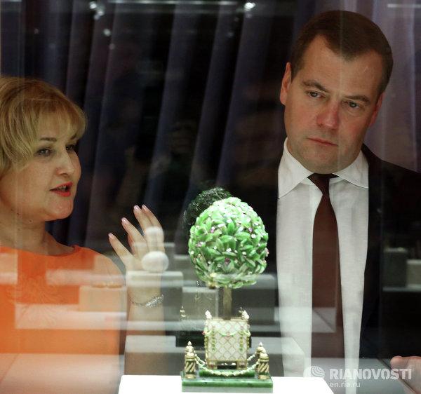 Д. Медведев посетил Музей Фаберже в Санкт-Петербурге