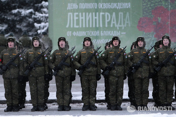 Репетиция парада в честь 70-летия освобождения Ленинграда от фашистской блокады