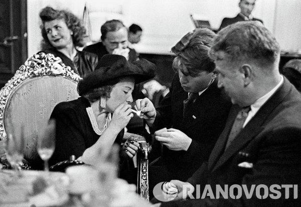Звезда американского кино Франческа Гааль на встрече с советскими кинематографистами
